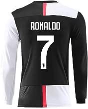 Feeke #7 Ronaldo Shirt Juventus Long Sleeve Home Soccer Tshirt for Mens Black/White