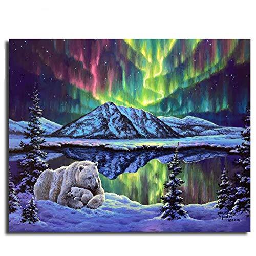 Paint by Number Kit, Diy Ölgemälde Nordlichter Eisbär Zeichnung Leinwand mit Pinsel Weihnachtsdekor Dekorationen Geschenke - 16 * 20 Zoll Rahmenlos