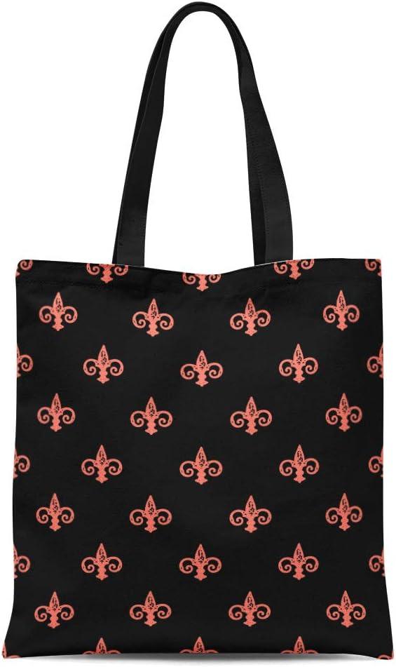 Semtomn Cotton Canvas Tote Bag Red Fleur De Lis Peach Echo and Black Color Reusable Shoulder Grocery Shopping Bags Handbag Printed