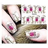 Full Set Pink Owl & Flowers Nail Sticker Salon Quality Nail Art Nail Wrap Nail Decals - 1 Sheet