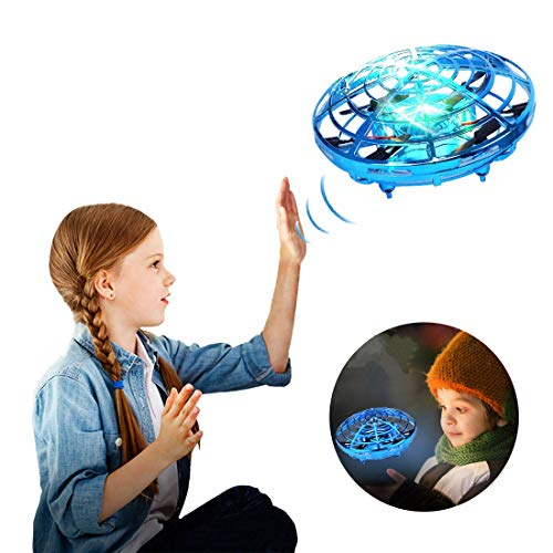 Hand Operated Drones for Kids or Adult, Mini Drone Flying Ball Toy, UFO Hand Free Drone Toys for Boys and Girls Holiday and Birthday Gifts (Blue)