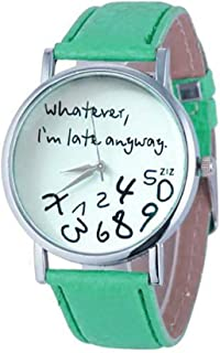 Wohome Hot Women Leather Watch Whatever I am Late Anyway Letter Watches GN