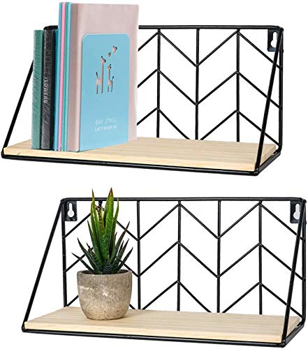 TIMEYARD Floating Shelves Wall Mounted Set of 2 Rustic Arrow Design Wood Storage for Bedroom, Living Room, Bathroom, Kitchen, Office, etc