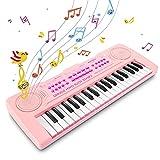 Innedu Mini teclado de piano de juguete, teclado musical de 37 teclas con sonidos de animales, canciones de demostración,batería y tempo,micrófono,teclado de piano musical portátil para niños pequeños