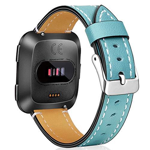 Amzpas - Correa de repuesto compatible con Fitbit Versa / Fitbit Versa 2 / Fitbit Versa Lite / correa de piel de grano superior para reloj inteligente Fitbit Versa Fitness
