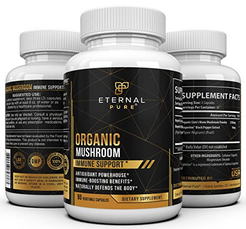 Immune Support Mushroom Supplement Complex - Lion's Mane Antioxidant Formula and Brain Booster with Nootropic Benefits by Eternal Pure 90 Vegetable Capsules