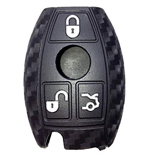 Funda de silicona para llave de coche de fibra de carbono compatible con Mercedes Benz CLS CLA GL R