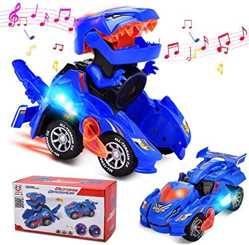 FOHYLOY Transformando Dinos Car, un Dinosaurio Que se balancea en un Auto de Carreras, un Juguete Educativo para niños y niñas de 3 a 6 años (Azul)