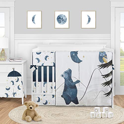 Sweet Jojo Designs Woodland Bear and Owl Baby Boy Girl Nursery Crib Bedding Set - 5 Pieces - Navy Blue, Grey, Gold and Black Celestial Moon Star Watercolor Forest