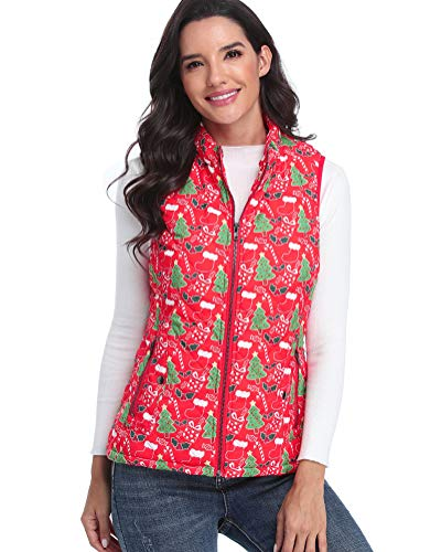 fuinloth Women's Padded Vest, Stand Collar Lightweight Zip Quilted Gilet Red Christmas XL