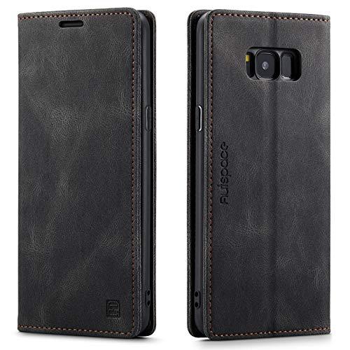 LOLFZ Hülle für Samsung Galaxy S8 Plus, Vintage Dünne Leder Handyhülle mit RFID Schutz Kartenfach Ständer Magnetische Flip Schutzhülle Kompatibel mit Galaxy S8 Plus - Schwarz
