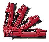 Mémoire PC - G.Skill RipJaws 5 Series Rouge 32 Go (4x 8 Go) DDR4 3200 MHz CL15 - Kit Quad Channel 4 barrettes de RAM DDR4 PC4-25600 - F4-3200C15Q-32GVR (garantie 10 ans par G.Skill)