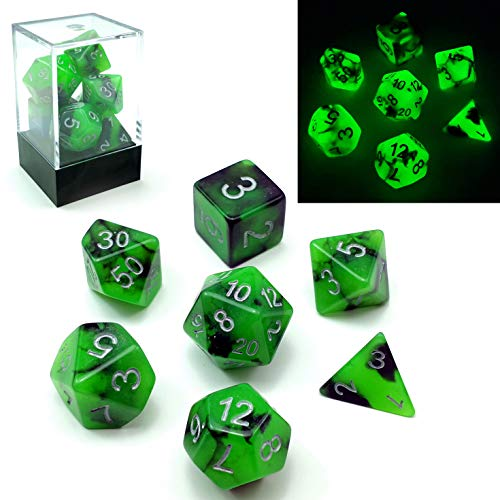 Bescon Polygonal Würfel Spielwürfel Gemini Two-Tone Leuchten D&D Dice Set Spooky Rocks, Helle RPG - Rollenspiel Polyedrische Dice 7pcs Set d4 d6 d8 d10 d12 d20 d%, Brick Box Packaging
