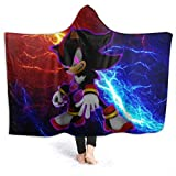 FT FENTENG Spring Hooded Blankets for Mens Womens, Sonic The Hedgehog Forces Evil Shadow Wearable Blankets for Preschool, Dorm Room, Holiday, Hypoallergenic Thick Flannel Plush Blanket