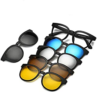 5 in 1 Magnetic Glasses 5 Sunglasses Clip on Glasses Polarized Clip-on Sunglasses for Night Driving