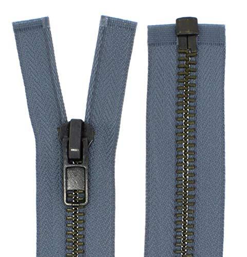 FIM Reißverschluss Metall Grob Nr. 8 Brüniert Teilbar für Lederjacken usw. Farbe: 10 - Mittelgrau(319), 75cm lang