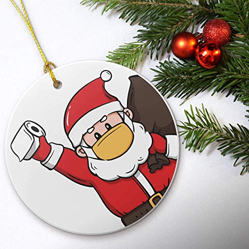 Quarentine Christmas 2020 Ornaments, Handmade Pandemic Ornament, Santa With Mask and Toilet Paper Ornament, Funny Gag Gift, Unique Christmas Tree Ornaments, Home Decorations Gift