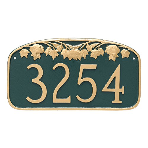 "Montague Metal Maple Leaf Address Sign Plaque, 7.25"" x 13.5"", Hunter green/Gold"