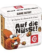 Game Factory 646273 Op de noten, het knapperige dobbelspel, mini-spel in handige metalen doos, reisspel, voor volwassenen en kinderen vanaf 8 jaar