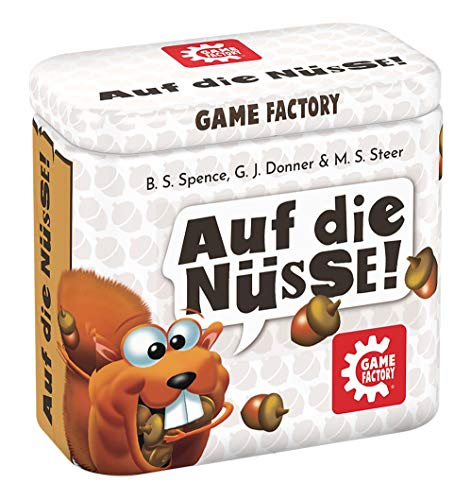 Game Factory 646273 Auf die Nüsse, das knackige Würfelspiel, Mini-Spiel in handlicher Metalldose, Reisespiel, für Erwachsene und Kinder ab 8 Jahren