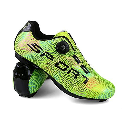 Scarpe Ciclismo Uomo Luminescente Moda Scarpe Bici da Corsa Strada Traspirante Anti-Scivolo Coppie Scarpe da Bici con Fibbia per Lacci a Rotazione Rapida e Scatola per Scarpe Verde 41