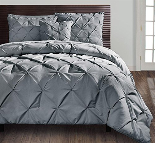 VCNY Home | Carmen Collection | Super Soft Microfiber Comforter, Cozy and Relaxing 4 Piece Bedding Set, Chic and Modern Design for Home Décor, King, Grey