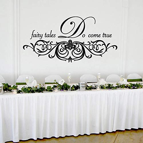 Etiqueta de la pared de la boda real de cuento de hadas Etiqueta engomada de la fecha del vinilo Tablero de la boda