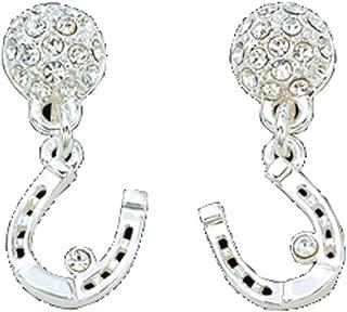 Montana Silversmiths Womens Horseshoe Dangle Crystal Earrings Silver