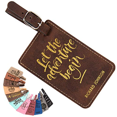 Personalized Name Luggage Tags w Strap | 15 Design 11 Color - Engraved Leather Traveler Gifts for Women, Men, Kids. Custom Monogrammed Luggage Tags for Honeymoon - Christmas Gifts for Travelers