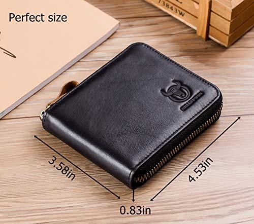 BULLCAPTAIN Men Genuine Leather Zipper Wallet RFID Blocking Bifold Wallets ID Window Credit Card Case 3