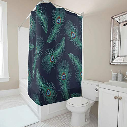 NC83 Groene pauwenveren patroon stijlvolle verscheidenheid douchegordijn fris gemakkelijk te wassen badkuip gordijn set met haken - voor douche/badkuipen