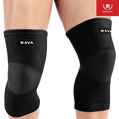 Mava Sports Knee Compression Sleeve Support for Men and Women - Perfect for Joint Pain, Weightlifting, Running, Gym Workout, Squats and Arthritis Relief (Black, Large)