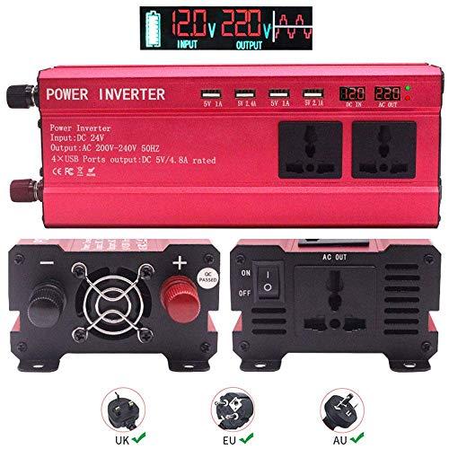 FSCLJ Inversor de Corriente 2200w, inversor Solar de Coche DC 12v / 24v a AC 220v / 230v convertidor con 4 Puertos USB, 3 enchufes universales, Doble Pantalla para Camping, Coche, Viajes