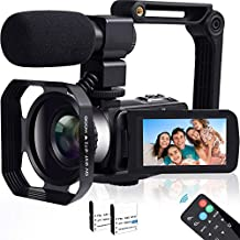 Video Camera, TLPUHU 4K Camcorder WiFi Ultra HD 48MB YouTube Camera for Vlogging, 3.1'' IPS Screen 16X Digital Zoom Video Camera with Microphone, 2 Batteries, Handheld Stabilizer(SD Card not Included)