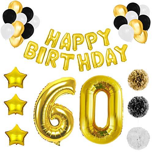 BELLE VOUS 60 Geburtstag Dekoration - 60. Geburtstag Luftballons Happy Birthday Banner Helium Party Luftballons Zum Party Deko Frauen Männer (60 Jahre) Gold Weiße Schwarze Latex Foilen