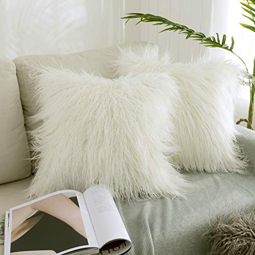 Kevin Textile Set of 2 Decorative New Luxury Series Merino Style Christmas Off-White Fur Throw Pillow Case Cushion Cover Pillow Covers for Bed (18' x 18' 45cm x 45cm)