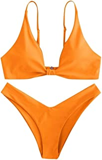 Two Piece Print Sexy Split Swimsuit Backless Solid Femme Bikini Swimsuit Beachwear Thong Solid Bikinis WZCUICAN (Color : Orange, Size : L)
