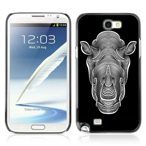 CelebrityCase Polycarbonate Hard Back Case Cover for Samsung Galaxy Note 2 II ( Rhino Black & White Drawing )