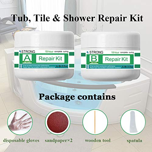Tub, Tile, Porcelain and Shower Fiberglass Repair Kit for White Tubs, Ceramic Toilet Fiberglass Stone Chips Scraps Drill Holes Repair, Tub and Tile Refinishing Kit Joint or Installation Adhesive