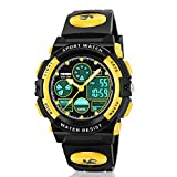 ATIMO Kids Digital Watches, Multi Function Waterproof Sports Digital Wrist Watch with Alarm Stopwatch-Prefect Gift for Kids and Teens (Yellow)