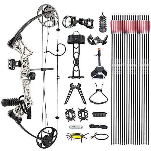 """DJH Archery Compound Bow Package for Adults and Teens, 19""""-30"""" Draw Length,19-70Lbs Draw Weight,320fps IBO,Gordon Composites Limbs,Limbs Made in USA (Snow-CAMO)"""