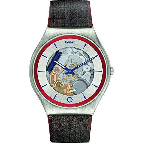 Reloj Swatch x 007 2Q Skin Irony SS07Z102 edición Azul, Esfera con Detalles Rojos y Correa de Piel Marron