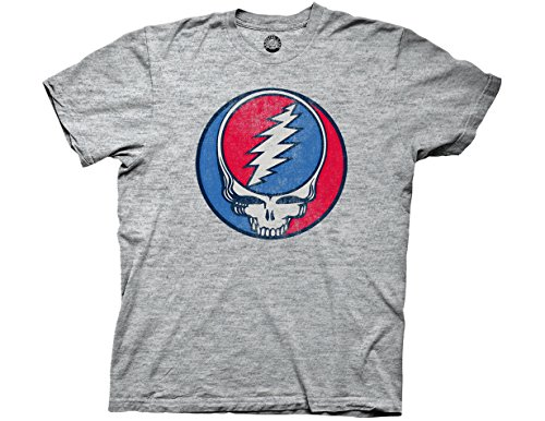 Ripple Junction Grateful Dead Adult Unisex Steal Your Face Vintage Light Weight Crew T-Shirt XL Triblend Heather Grey