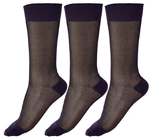 Cityelf 3 Paare Dünne Socken Seide Schier Socken anziehen Mitte der Wade Seidensocken Arbeitssocken für Herren (A, Einheitsgröße)