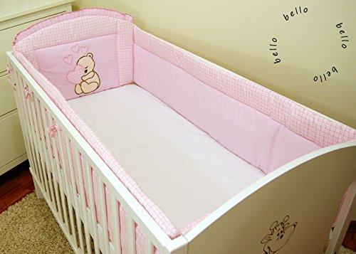 Torre de cama de bebé equipo protección de los bordes nido cabeza protección 420x 30cm, 360x 30cm 100% algodón con bordado diseño bordadas oso/oso para niña niño rosa Rose Talla:360x30cm
