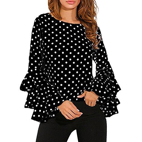 VECDY Moda Camisa Mujer Trompeta Manga Larga Suelta Lunares En Blanco Y Negro Camiseta Tops De Primavera Camisa Casual De Mujer(Negro ,XL)