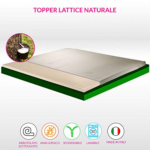 GEEMMA s.r.l. Topper, sopramaterasso in Lattice Naturale, Alto 4,5 cm con Tessuto Anallergico sfoderabile, Eco Compatibile e Termo regolatore- Star Natural Latex Piazza e Mezza 120x195