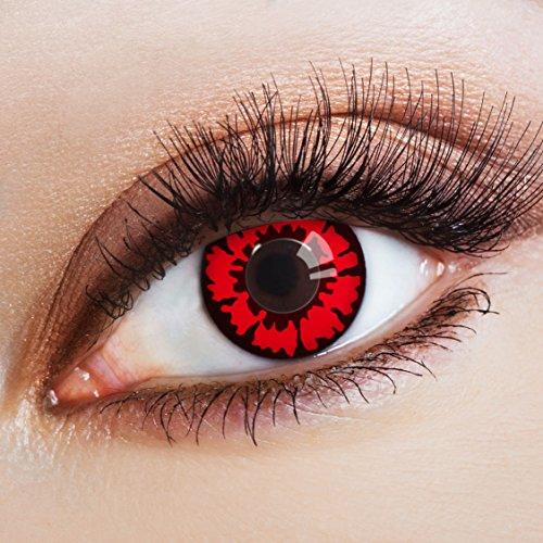 aricona Kontaktlinsen - Schwarz rote Kontaktlinsen - Halloween Kontaktlinsen farbig ohne Stärke
