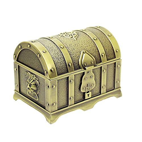 ZWS Joyero Caja de joyería Retro Europea, Caja de Almacenamiento de joyería de Metal pequeño para Tachuelas aretes Anillos Collares Pulseras Caja de joyería (Color : A)