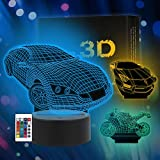 3 Patterns 3D Night Light, 3D Illusion Lamp, 3D Lamp with 16 Color for Kids,...